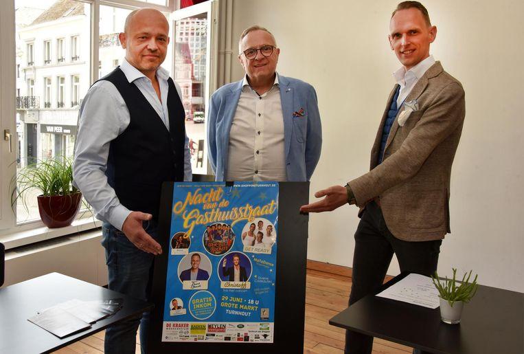 De organisatoren van de Nacht van de Gasthuisstraat Andy Fonteyne, Willy Van Geirt en Guy Peeters.