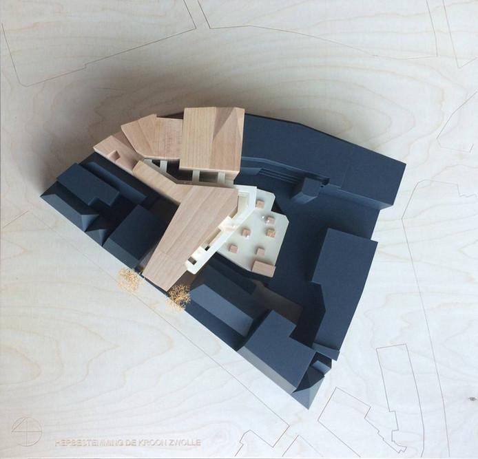 Een maquette met het bovenaanzicht van de nieuwe invulling op de plek van de Kroon. Illustratie MONK Architecten
