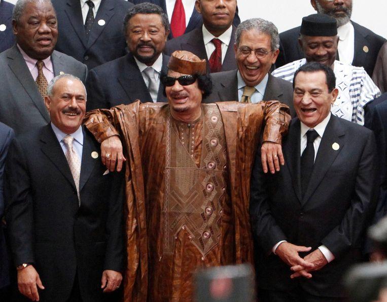 Saleh, links, in 2010 met de Libische ex-leider Khadafi en Mubarak van Egypte. Beeld REUTERS