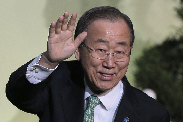 Secretaris Generaal van de VN Ban Ki-Moon komt aan in Parijs. Beeld anp