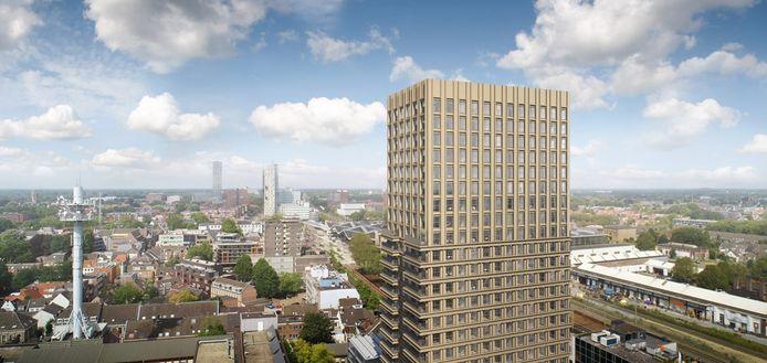 De Bankier kijkt uit over Tilburg. Hoewel de meeste partijen zich in de komst van een nieuwe woontoren kunnen vinden, was de commerciële ruimte een heet hangijzer.