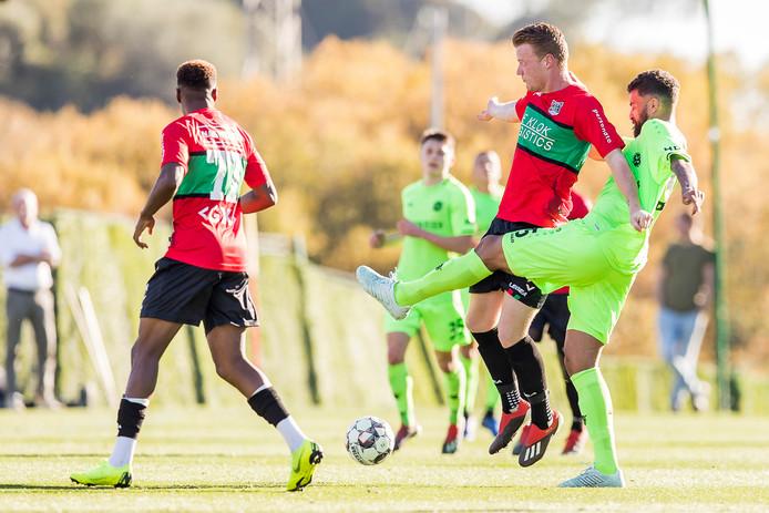Ferdy Druijf maakte voor NEC zijn eerste minuten in het oefenduel tegen Bundesligaclub Hannover 96 (0-0) in het Spaanse Marbella.