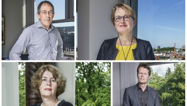 Met de klok mee: Prof. dr. ir. R.A.J. Janssen, prof. dr. T.N. Wijmenga, prof. dr. B. Meyer en prof. dr. A.W. van der Vaart. Beeld Adrie Mouthaan