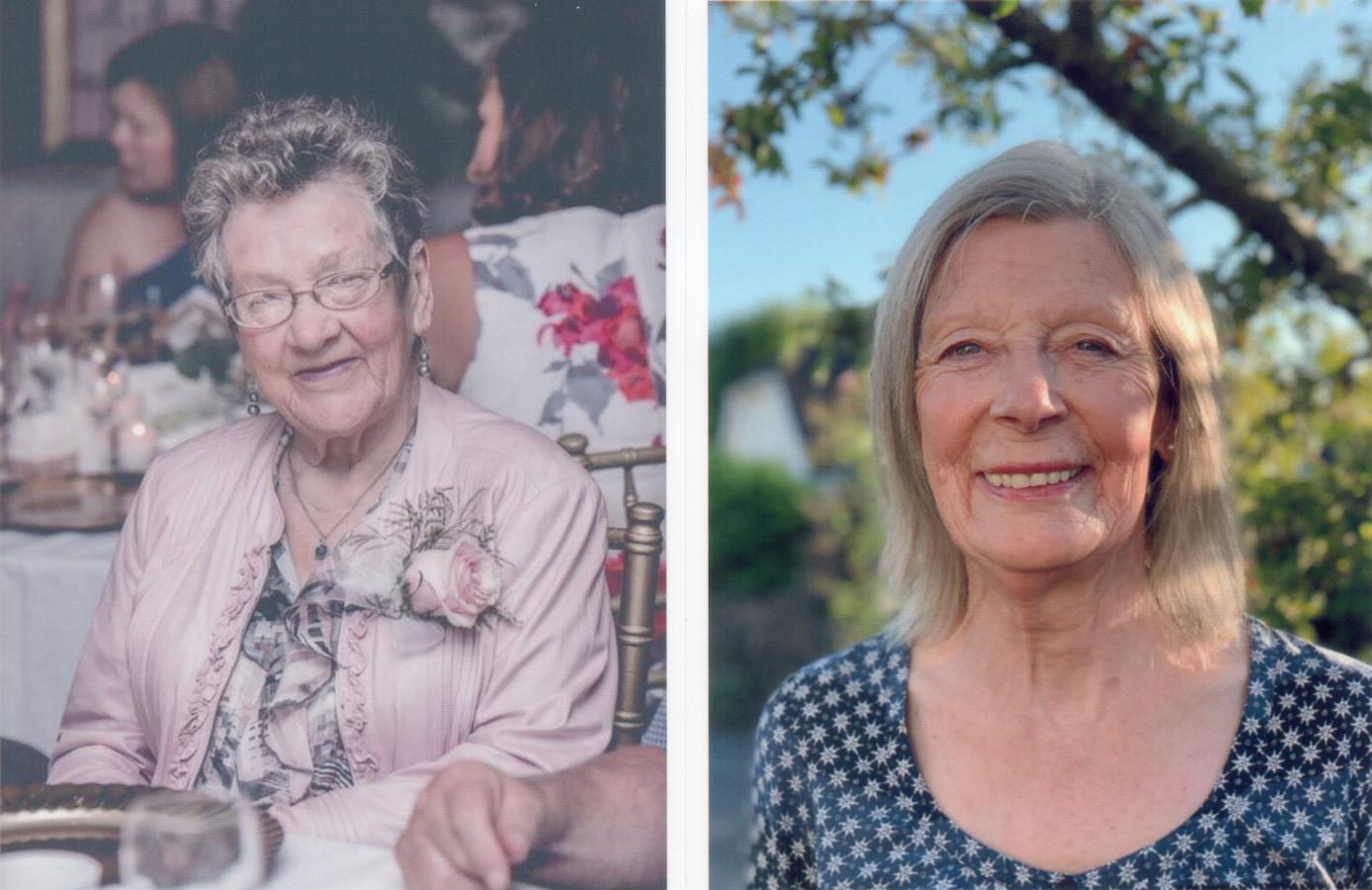 Annie van den Broek - Nabuurs (l) en Jenny Stone, de dochter van piloot Raymond Jesse Hill.