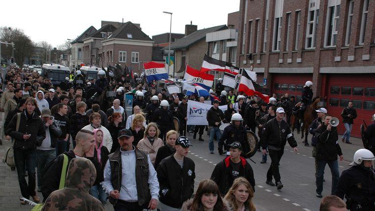 Een demonstratie van NVU in Bergen op Zoom Beeld anp