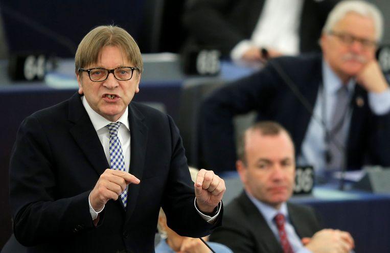 """Guy Verhofstadt, hoofdonderhandelaar namens het Europees parlement voor de brexit, hoopt met name op een doorbraak rond het scenario van een douane-unie. """"Op die manier vermijden we een harde brexit en lossen we ook het probleem van de Ierse grens op."""""""