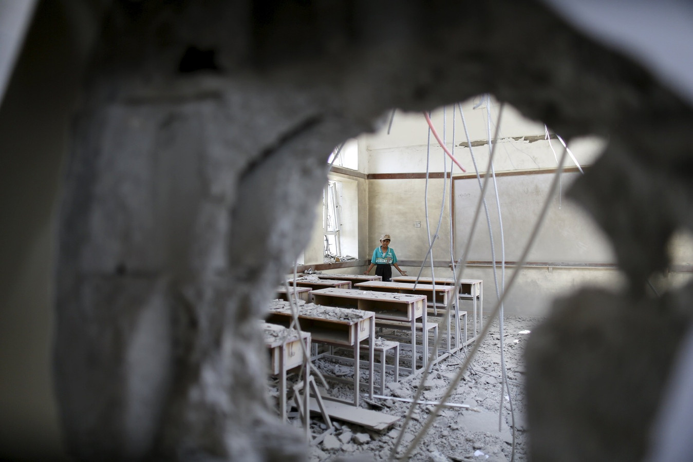 Afgelopen maandag werd deze school in Sanaa, de hoofdstad van Jemen, geraakt bij een luchtaanval.