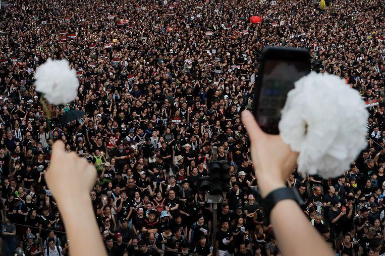 Demonstranten in Hongkong gisteren.