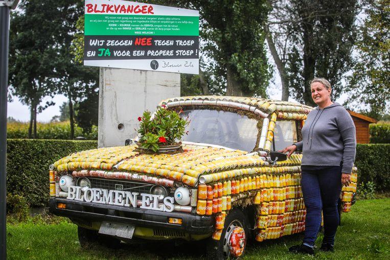 Keiem Diksmuide: Els Vuylsteke wil met haar blikjesauto sensibiliseren om zwerfavfal te vermijden