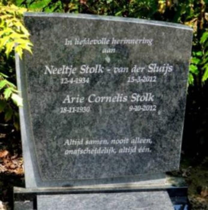 De verdwenen grafsteen van de ouders van Corine Stolk.
