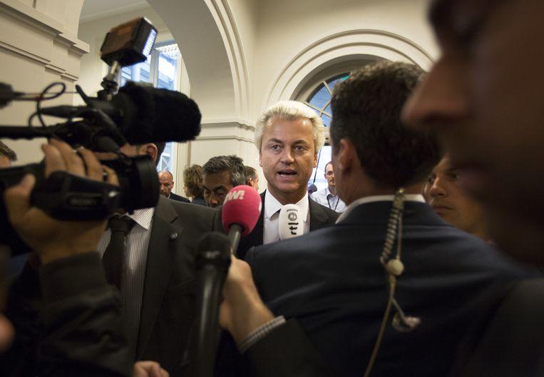 Geert Wilders gisteren in het gebouw van de Tweede Kamer. Beeld ANP