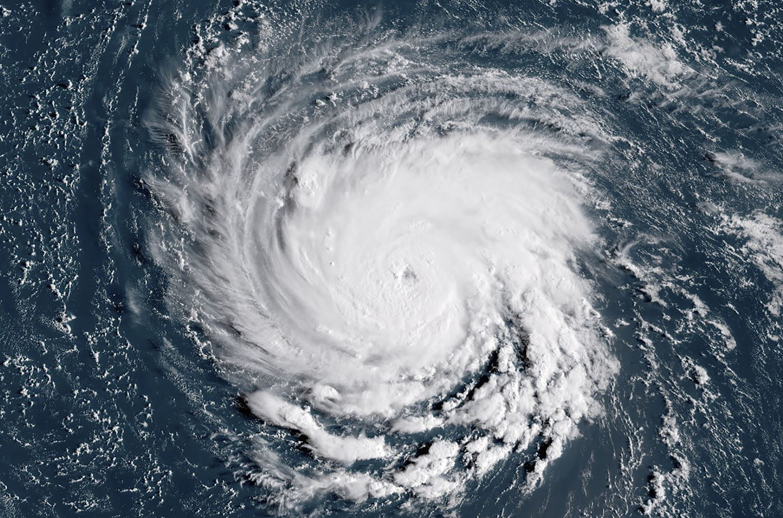 Satellietbeeld van superstorm Florence.