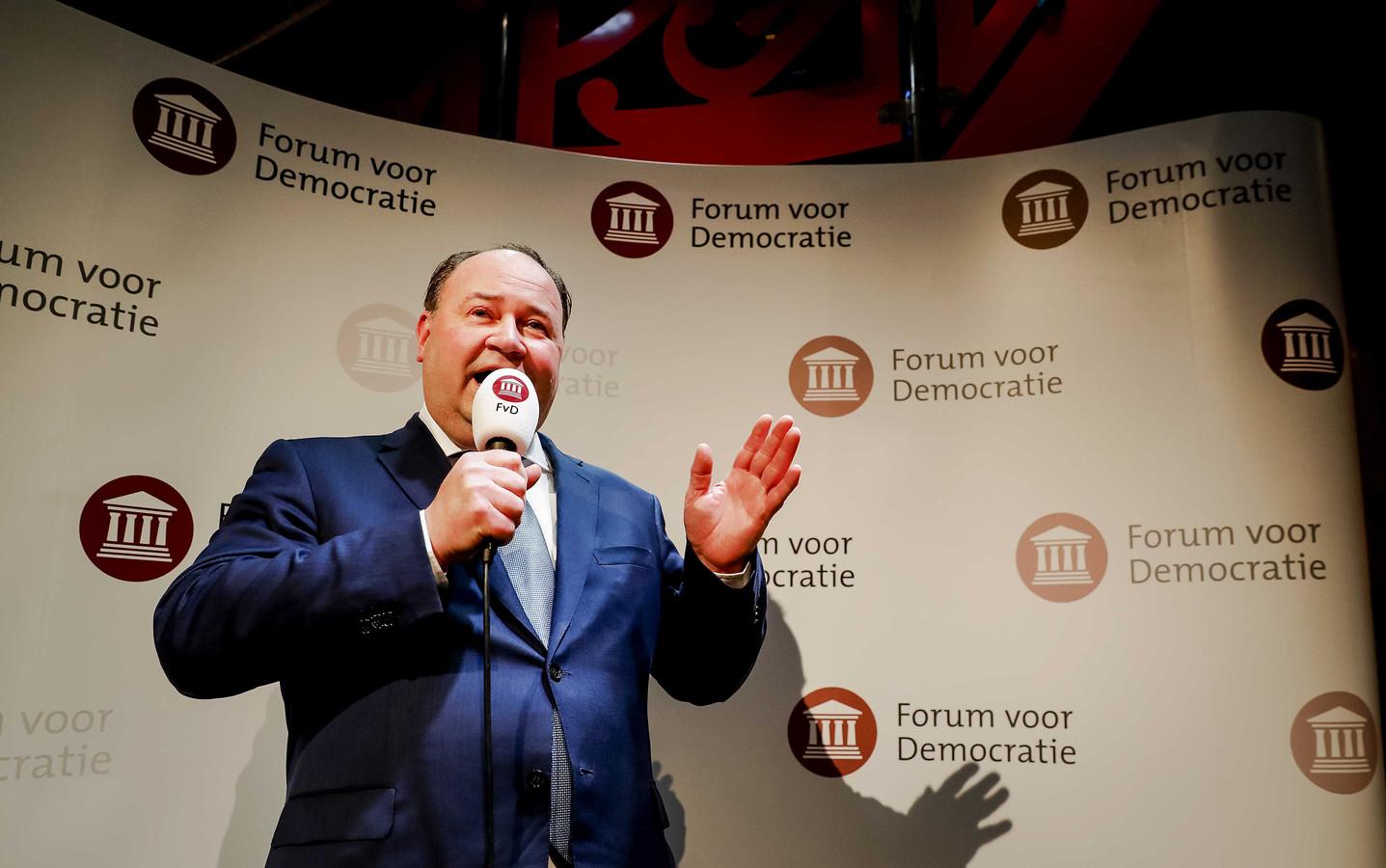 Archiefbeeld: Henk Otten van Forum voor Democratie (FvD) tijdens de uitslagenavond van de Provinciale Statenverkiezingen en de waterschapsverkiezingen.