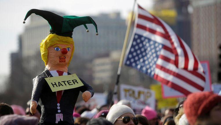 Protest tegen Trump in Chicago op 20 janurai Beeld reuters