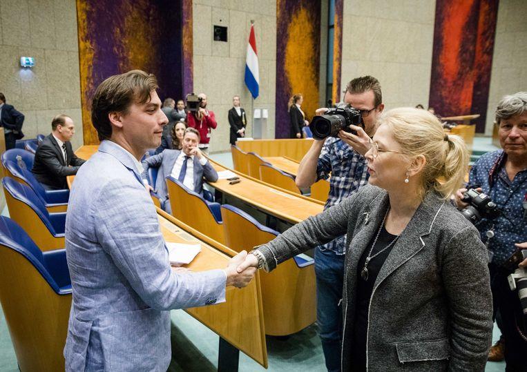 FvD-leider Baudet en CDA-Kamerlid Van Toorenburg na de Statenverkiezingen in mei 2019. Beeld ANP