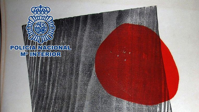Een door de politie verspreide foto van het gestolen werk van Joan Miro. Beeld afp