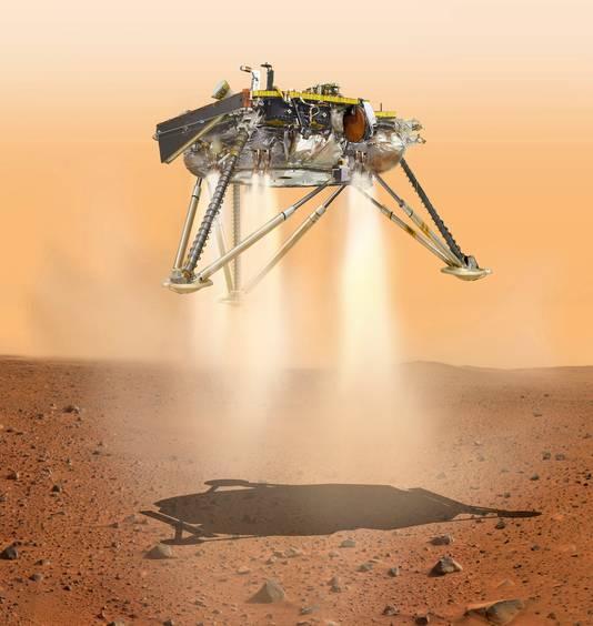 Als alles goed gaat komt InSight maandag met een slakkengang aan op Mars.