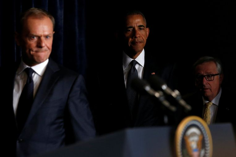 Donald Tusk en Barack Obama. Beeld reuters