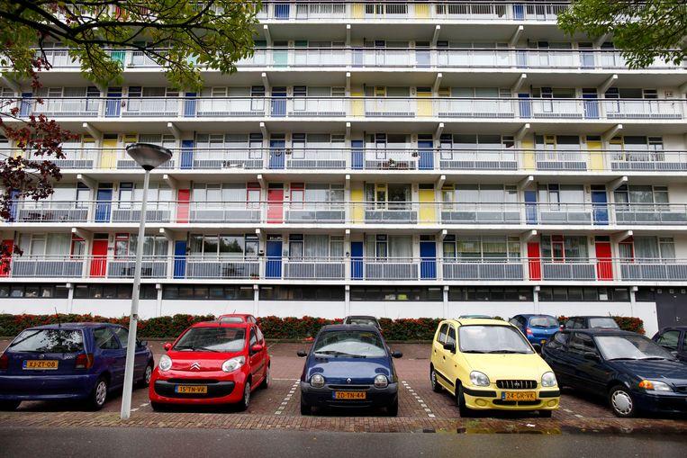 De flat Merendonk in de Merenwijk van Leiden. Beeld Hollandse Hoogte / Wiebe Kiestra Fotografie