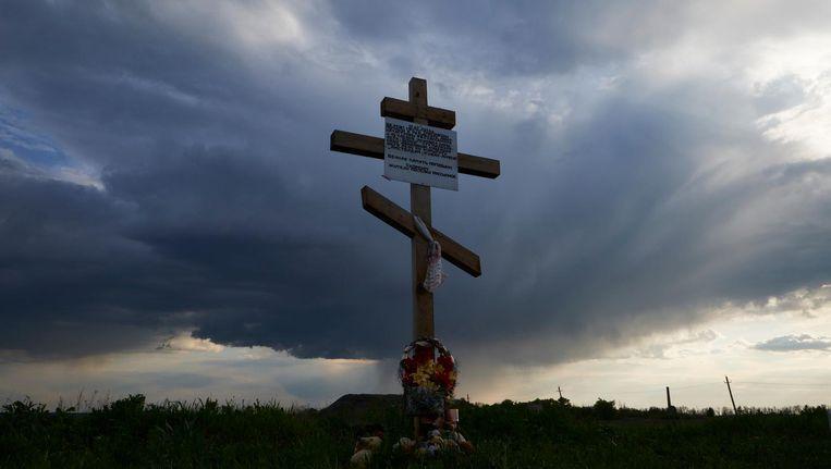 Een gedenkteken op de plek waar restanten van het vliegtuig terug werden gevonden. Beeld anp
