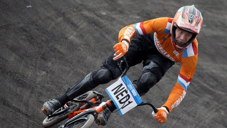 BMX'er Niek Kimmann tijdens de Olympische Jeugdspelen van 2014. Hij is samen met de Nederlandse hockeyvrouwen uit het lijstje met verwachte winnaars tijdens Rio '16 gehaald. Beeld epa