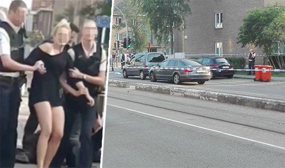 Achter het stuur van de auto zat een vrouw, mogelijk werd ze door de man gegijzeld.