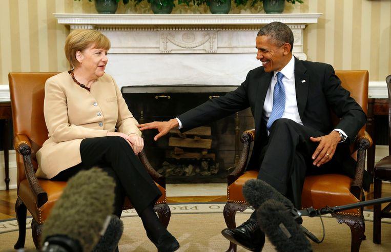 Merkel en Obama in het Witte Huis in 2014. Op 9 februari bezoekt Angela Merkel opnieuw Washington. Ze zal onder andere de aanpak van de Oekraïense crisis met haar ambtsgenoot bespreken.