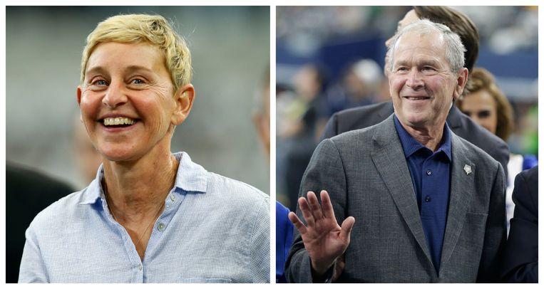 Ellen DeGeneres (links) en George W. Bush (rechts).