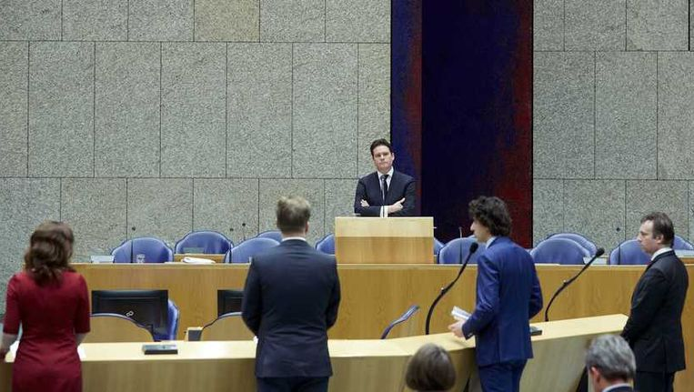 taatssecretaris Frans Weekers van Financien tijdens het Tweede Kamerdebat. Beeld anp
