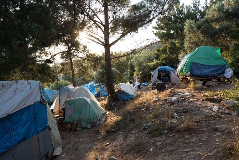 Tentjes in het registratiekamp op het Griekse eiland Samos.