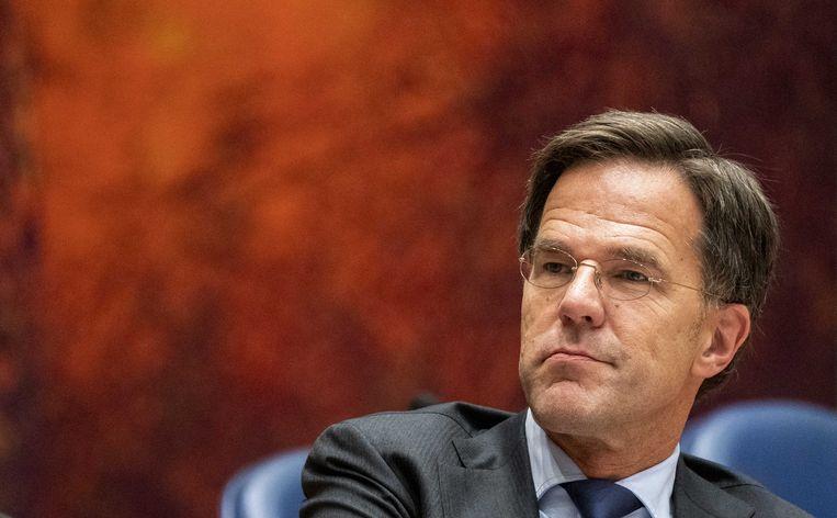 Premier Mark Rutte tijdens het debat over de Europese Top.  Beeld ANP/Jerry Lampen