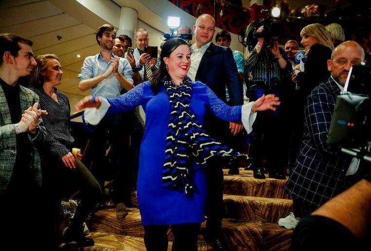 Fractievoorzitter Annabel Nanninga van Forum voor Democratie tijdens de uitslagenavond van de Provinciale Statenverkiezingen en de waterschapsverkiezingen Beeld ANP