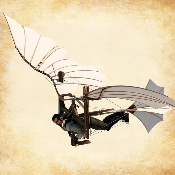 L'ornithoptère imaginé par de Vinci n'a jamais dépassé le stade du simple croquis.