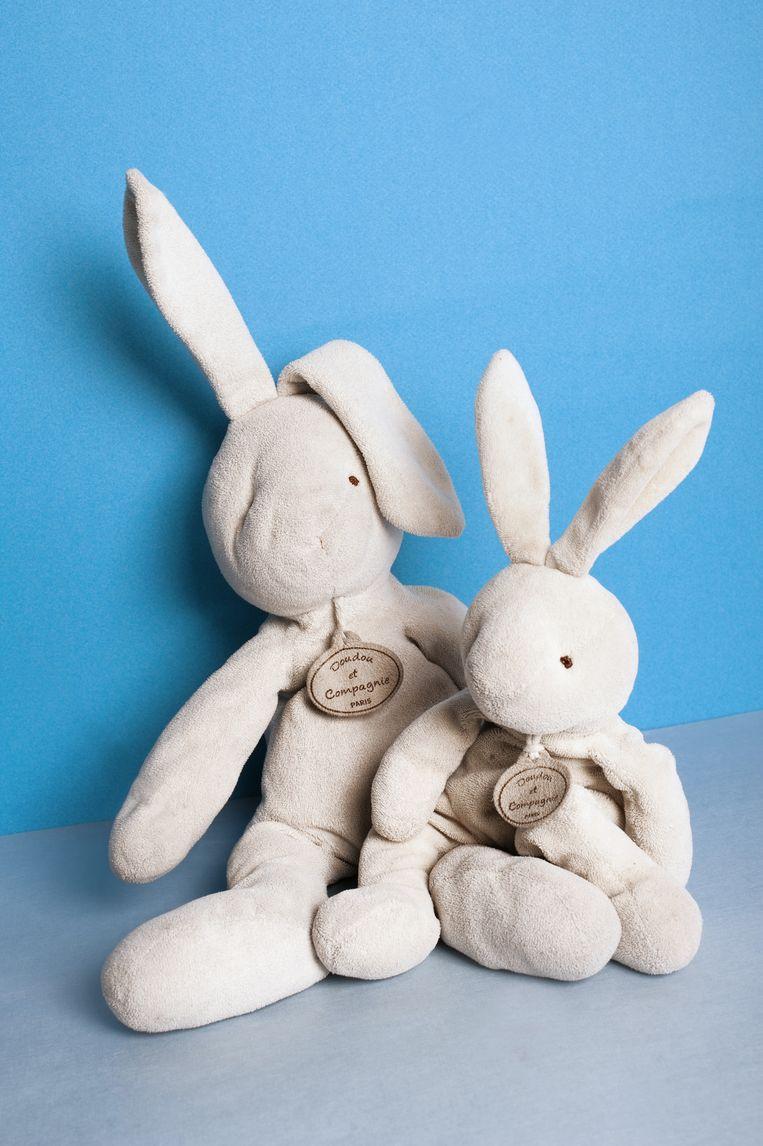 Doudou en Baby Doudou. Leeftijd: 3 en 1 Lengte: 35 en 48 cm Knuffel van: Lola Stoffers (3) uit Amsterdam. Beeld Els Zweerink