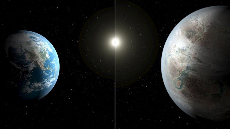 Een beeld van Nasa waarin de grootte van de aarde (links) wordt vergeleken met die van de 'aarde-achtige' planeet Kepler-452b. Beeld REUTERS