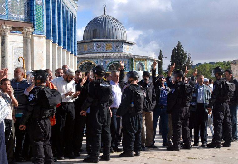 Een Palestijnse betoging, afgelopen woensdag in Jeruzalem. Beeld epa