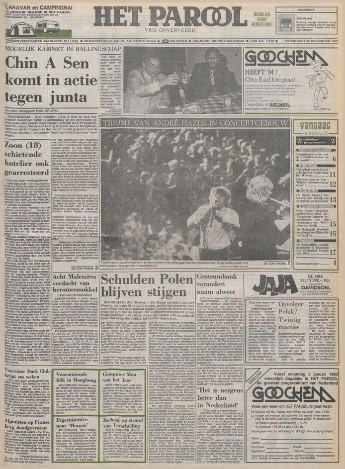 De voorpagina van Het Parool op 29 december 1982, de dag na het concert van Hazes in het Concertgebouw.