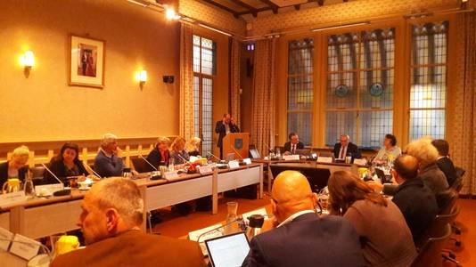 Inspreker Robert van Motman uit Soest namens de Vereniging Vrij Polderland en de stichting Behoud de Eemvallei.