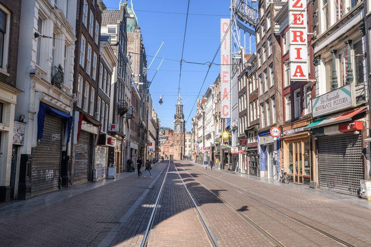 In het centrum van Amsterdam was het stil tijdens de coronacrisis. Beeld Getty Images