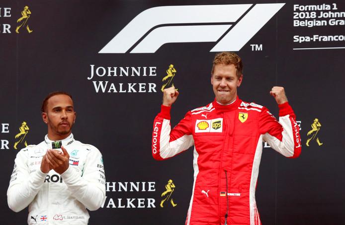 Lewis Hamilton werd zondag tweede in de Grand Prix van België, achter Ferrari-coureur Sebastian Vettel.