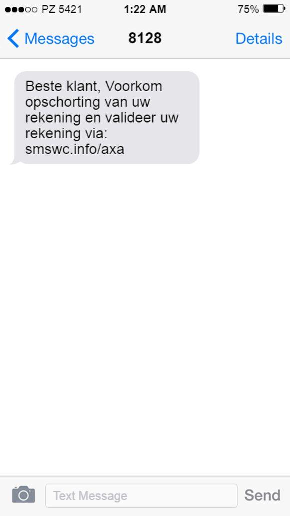 Parket en politie vragen om deze sms te negeren.