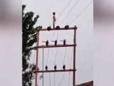Un enfant de cinq ans s'aventure au sommet d'une ligne électrique