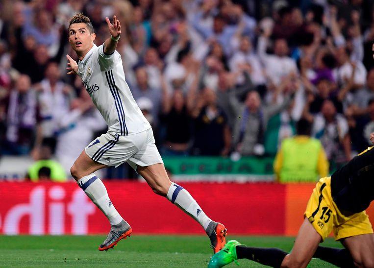 Cristiano Ronaldo viert zijn tweede doelpunt tegen Atletico Madrid. Beeld AFP