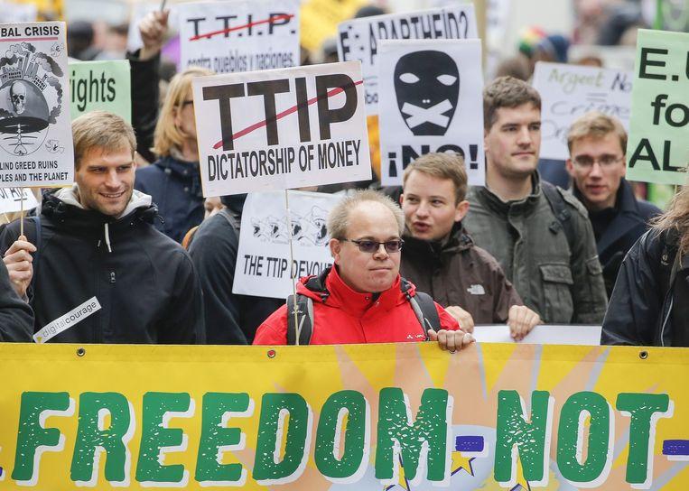 Een TTIP-protest in Brussel. Beeld epa