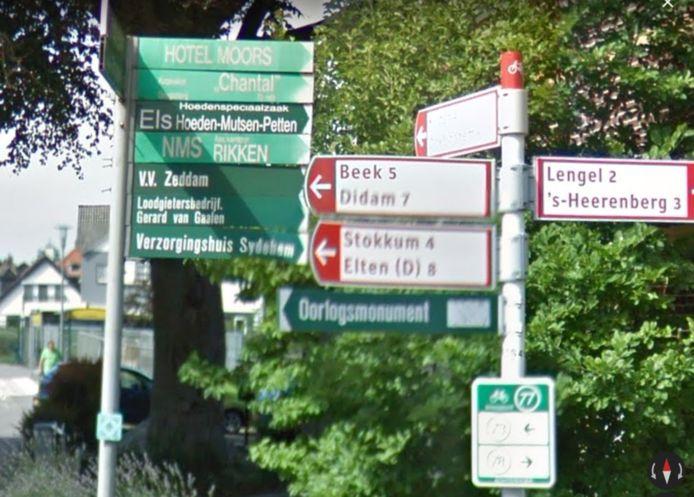 De groene verwijsbordjes in Montferland worden verwijderd.
