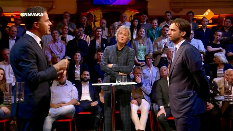 Thierry Baudet tegenover Mark Rutte Beeld BNNVARA/Pauw