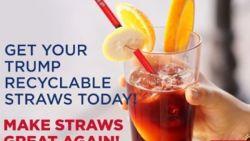 Trump vindt de jacht op plastic rietjes overdreven en lanceert daarom 'Make straws great again'