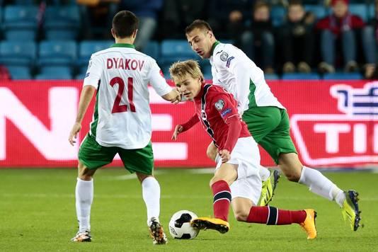 Odegaard in actie tegen Bulgarije.