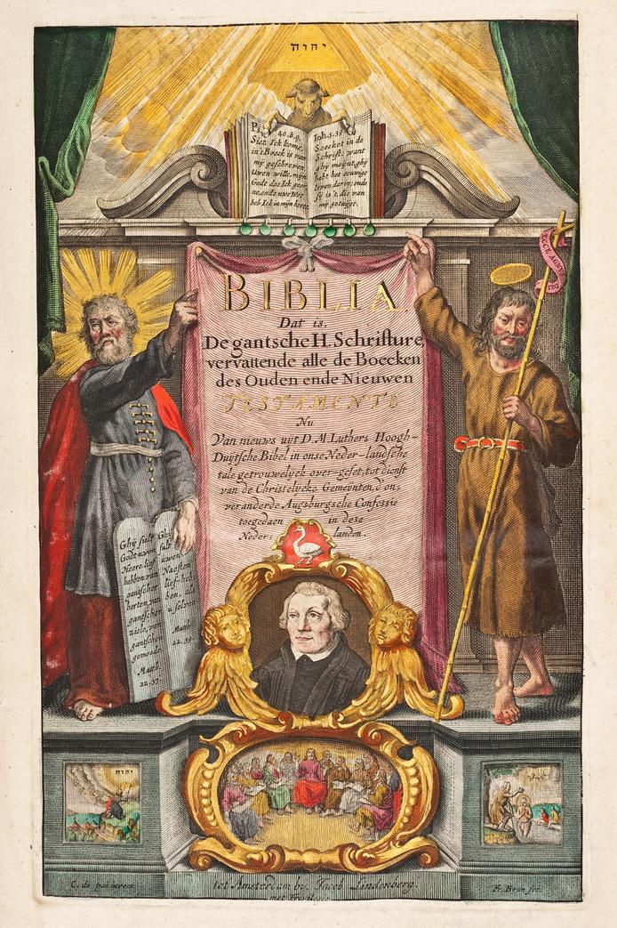Titelpagina van de Lutherbijbel van Adolph Visscher.