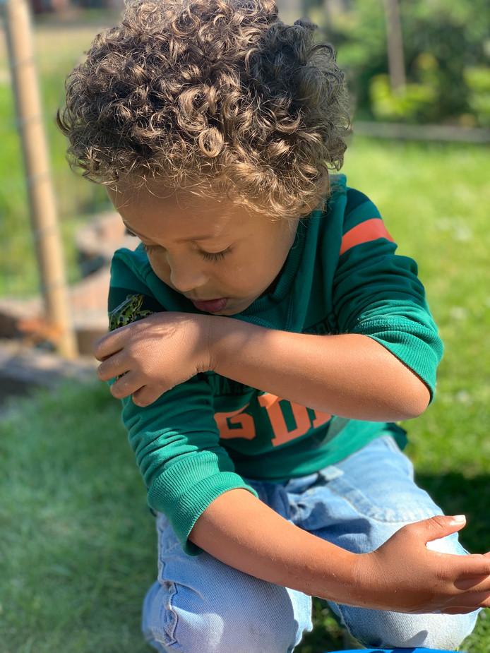 Kikkers zijn de favoriete dieren van de 4-jarige Anthony. Hij gaf hem zelfs een zoen. Esther Pelgrom werd met deze foto weekwinnaar.